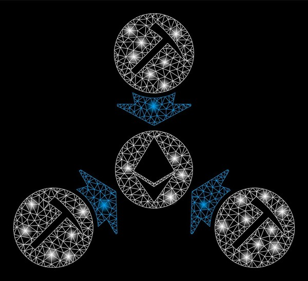 Group of circles with pic axes in the center and ethereum logo.