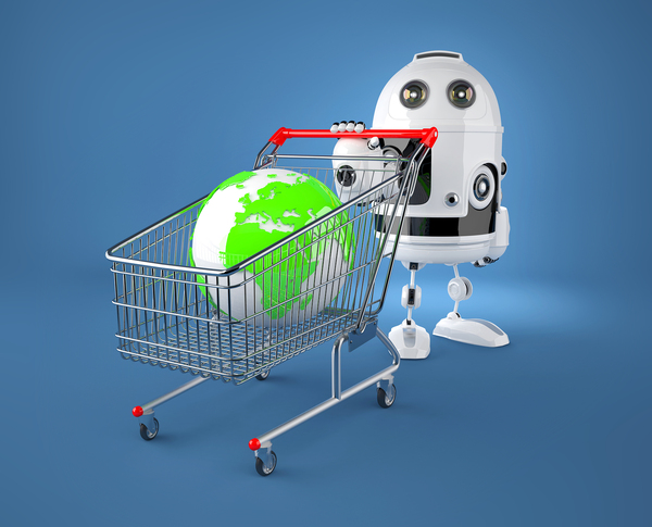 White robot pushing a shopping cart with a globe in the basket.