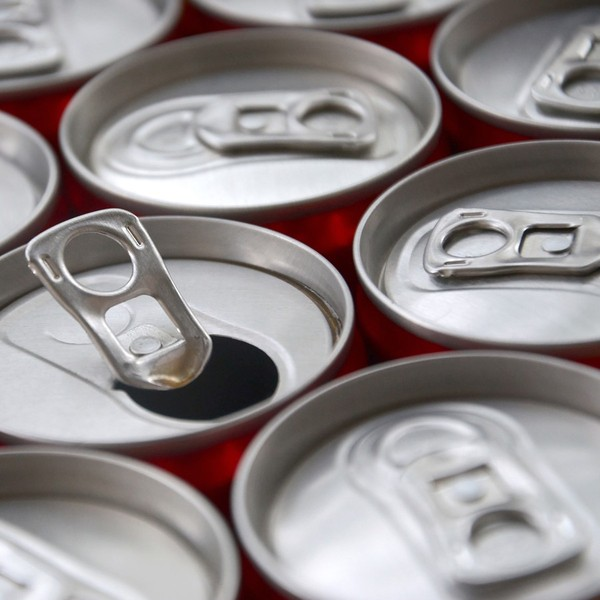 Aluminum cans with tabs.