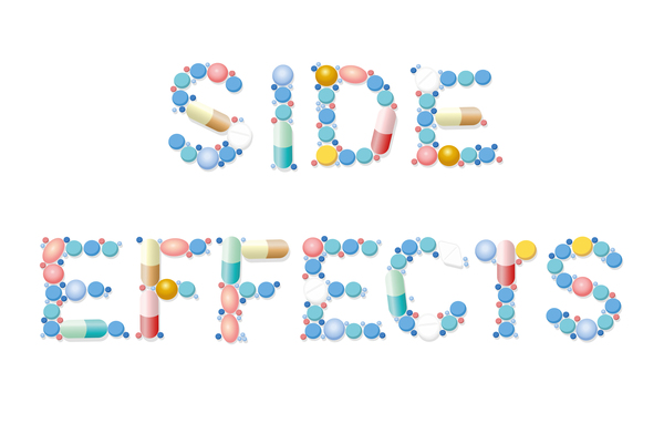 The words side effects created with pills.