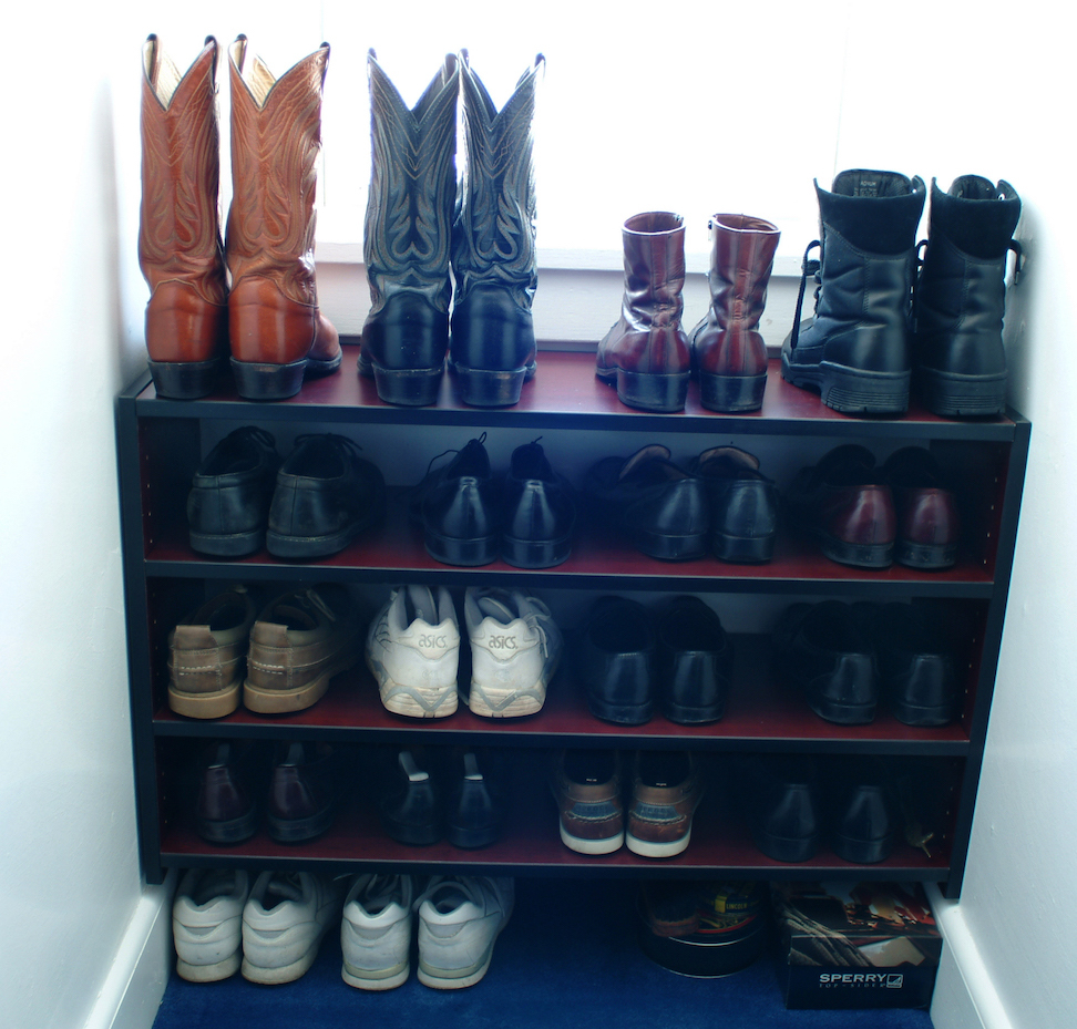 reach in closet with shoe shelves
