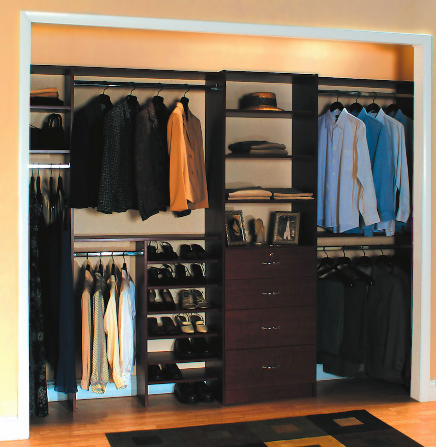 Adult reach in closet with shor shelves, double hangers and pull open drawers