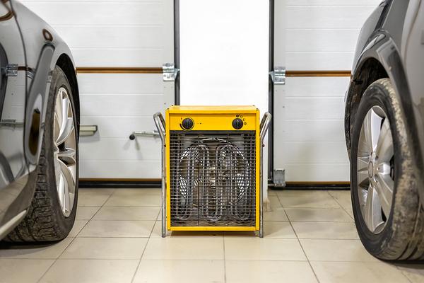 Space heater in a garage.