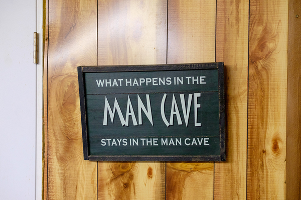 Sign labeled Man Cave.