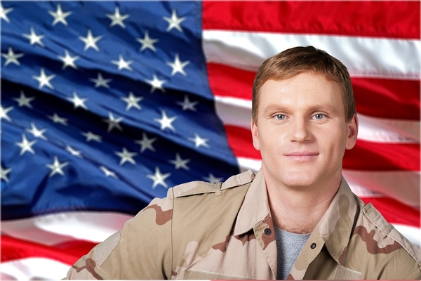 man in military uniform in front of an american flag background