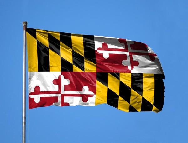 Maryland state flag with blue background.