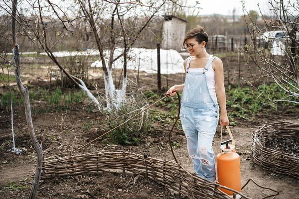 Woman spraying plants outdoors