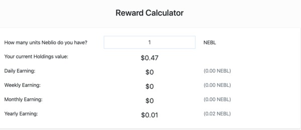 Neblio reward calculator.