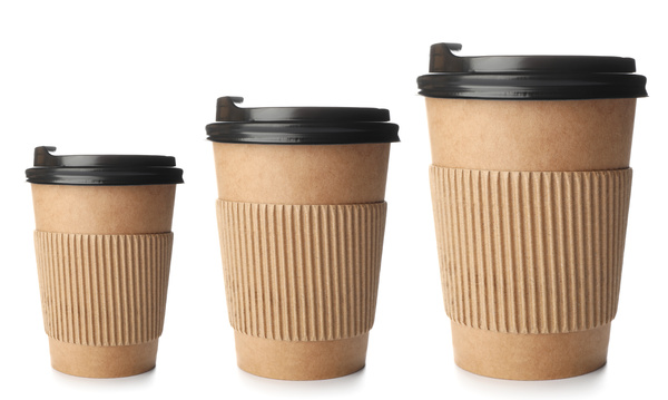 Small, medium and large coffee packaging.