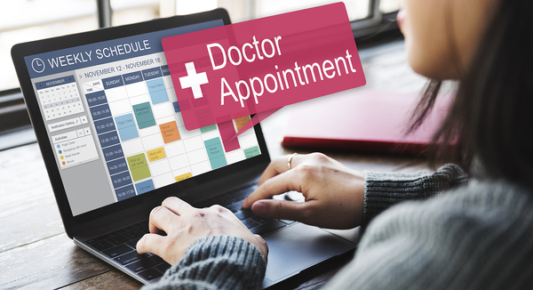 patient scheduling doctors appointment online at the end of her digital patient journey