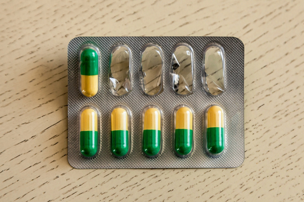 Pill pack with four pills missing.