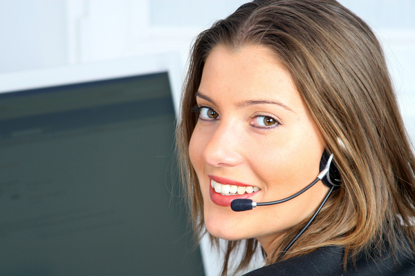 Woman with a headset.