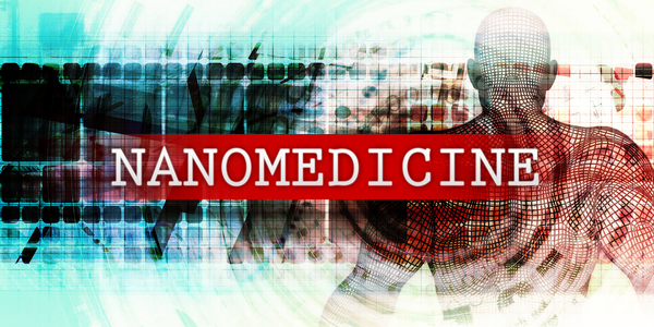 Digitally created person with the words nanomedicine.