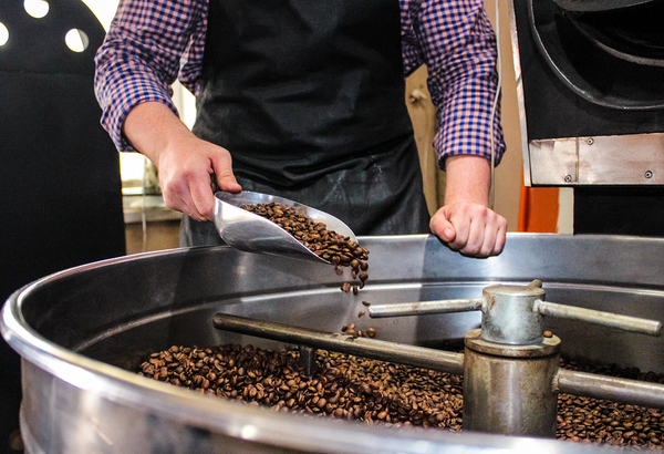 Person using a metal scoop to get coffee beans from a large mixer.