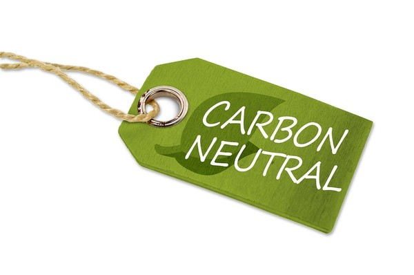 Green tag labeled carbon neutral.