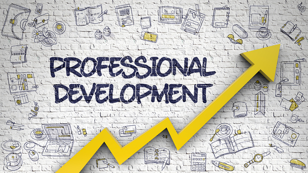 Graphic with an upward yellow arrow and the words professional development.