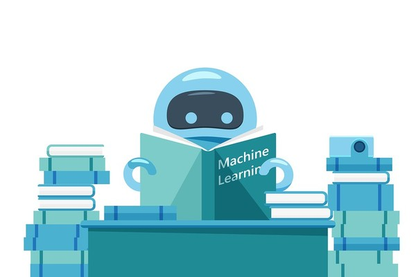 Robot reading a book labeled Machine Learning.