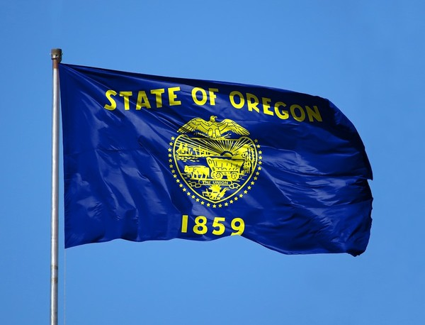 Oregon state flag with a blue sky in the background.