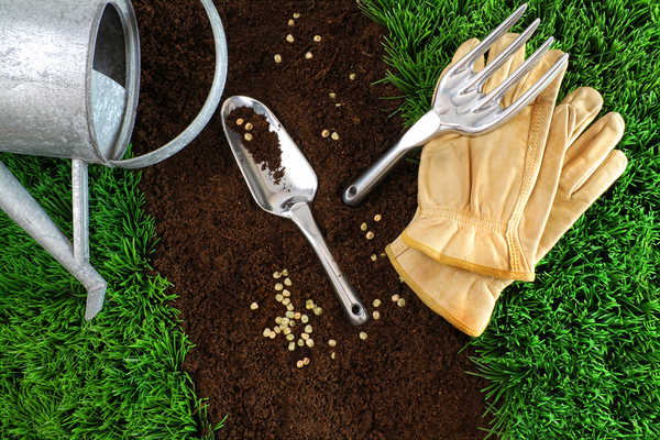 Gloves and gardening tools on grass and soil
