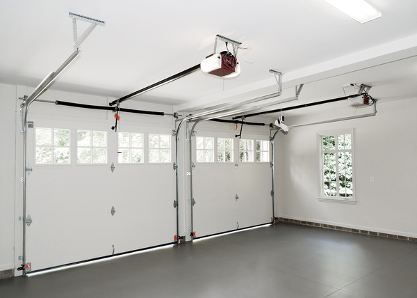 Interior of a two-car garage.