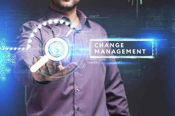 Man in pointing to a change management graphic