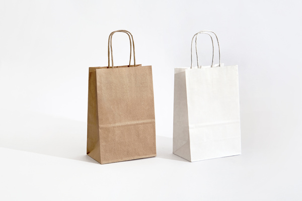 Brown and white paper bags.