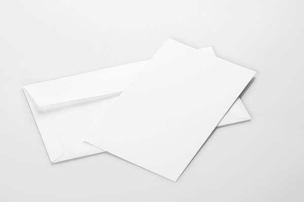 White writing paper and envelope.