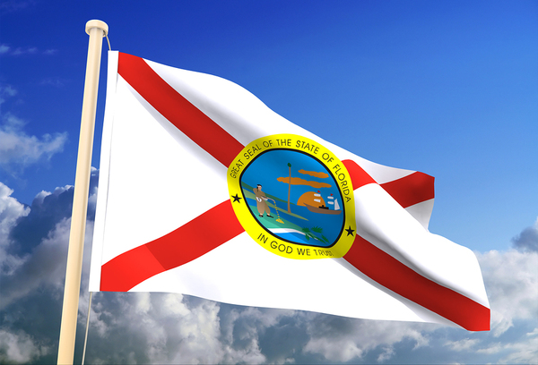 Florida state flag flying with a blue sky in the background.