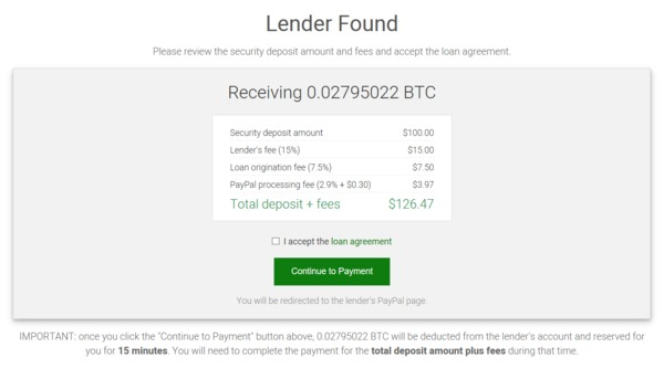 Lender found screen.