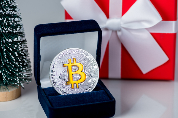 Silver coin with a gold bitcoin symbol.