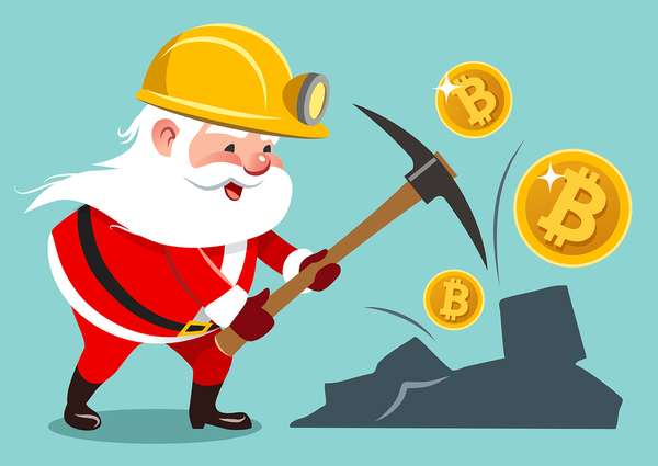 Illustration of Santa mining gold with bitcoin symbols.