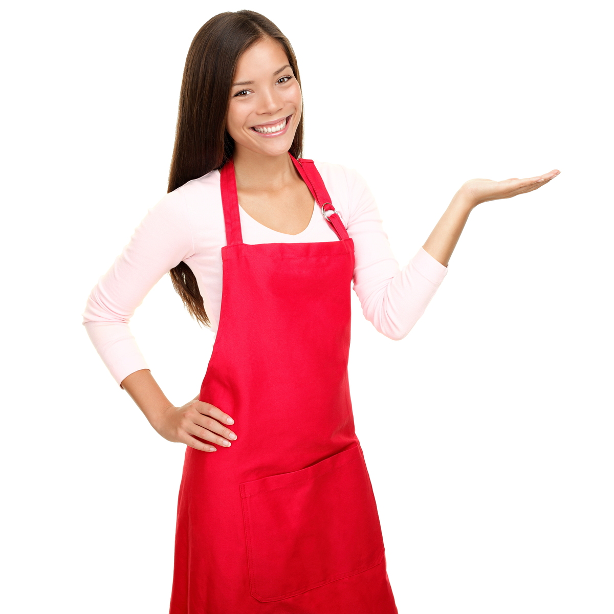 Smiling woman wearing a red apron.
