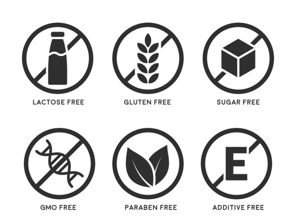 Lactose free, gluten free and sugar free icons.