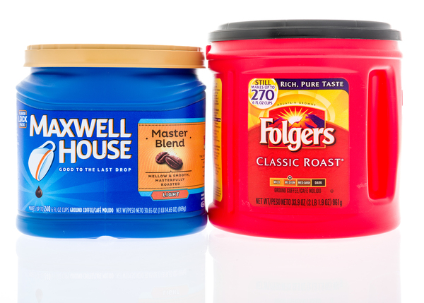 Maxwell house and Folgers coffee packages.
