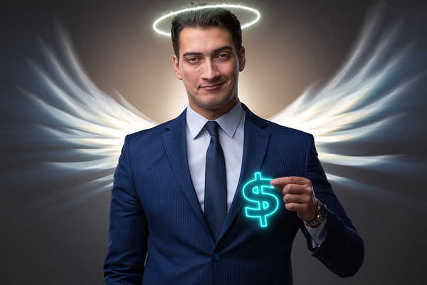 man with wings and halo holding a glowing money symbol