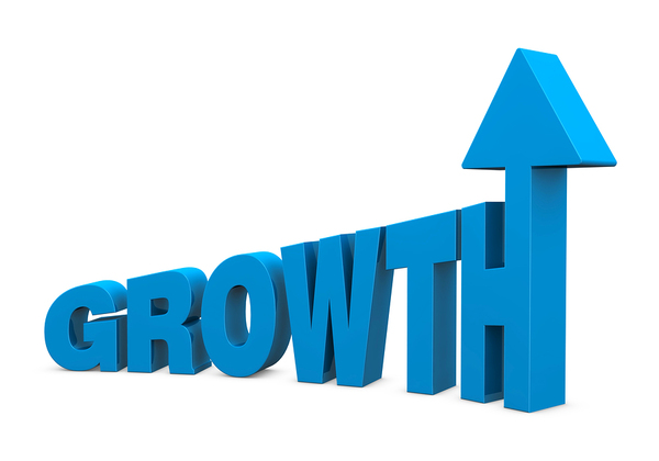 sign that says growth with an arrow attached to the H