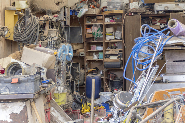 Garage filled with clutter.