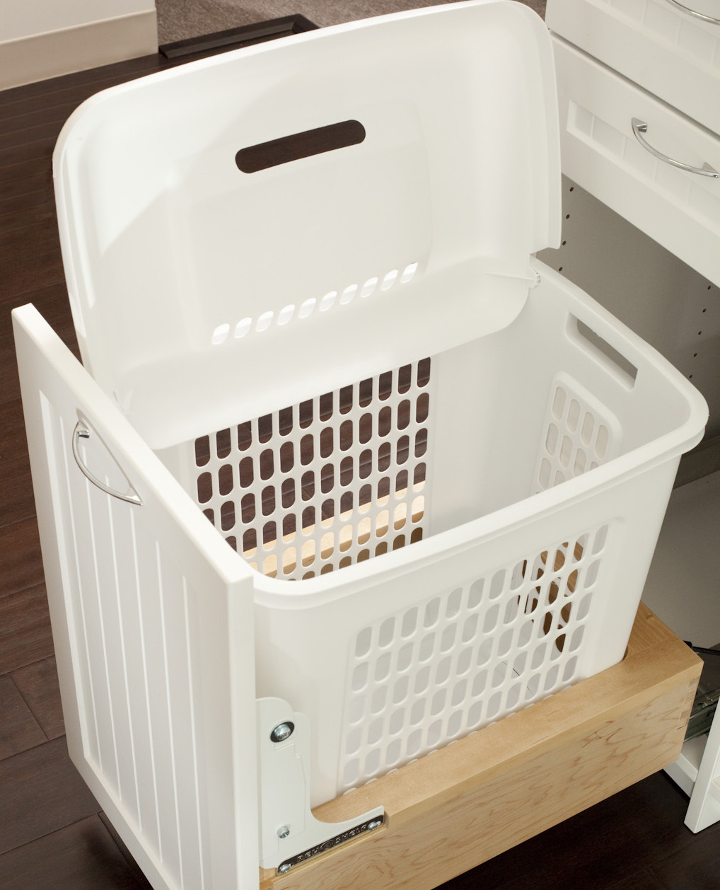 hamper in laundry room