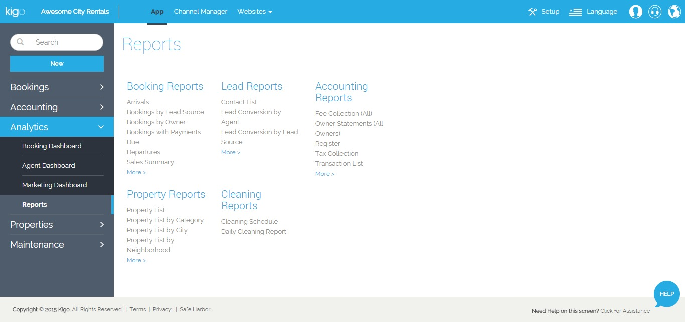 Kigo's software gives you access to a wide variety of reports