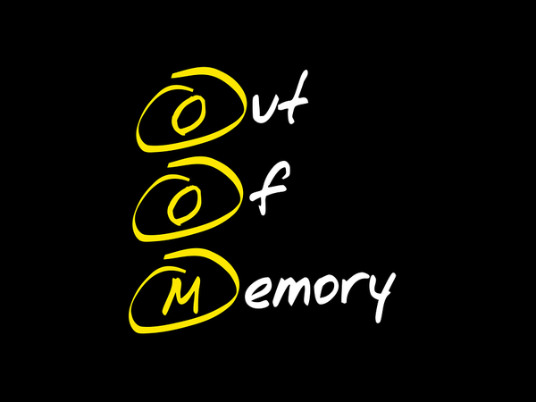 The letters OOM highlighted in yellow and spelling out Out Of Memory.