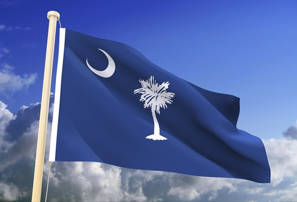 South Carolina state flag with blue sky in the background