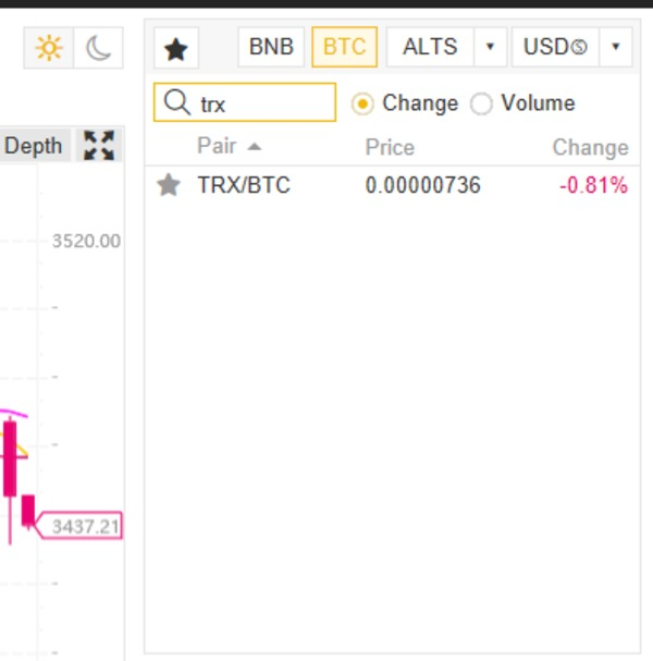 "Screen shot showing searching ""TRX/BTC"" in the exchange search box."