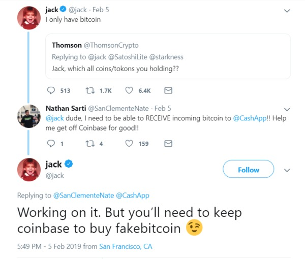 Twitter conversation about coinbase.
