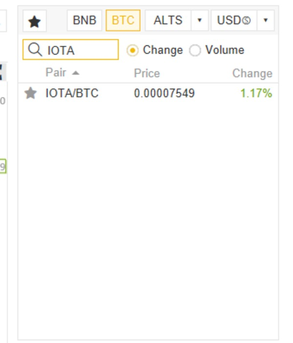 IOTA page screen shot.