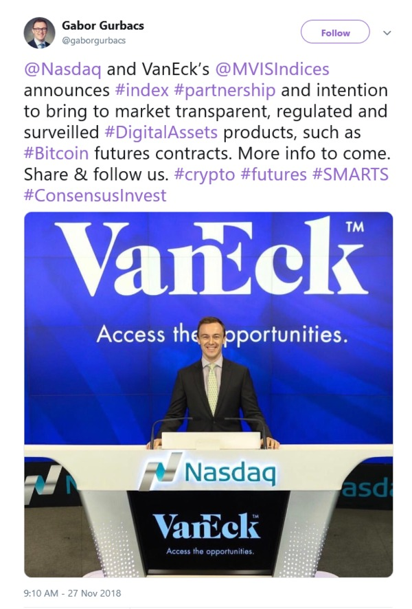 Twitter post @Nasdaq and VanEck's partnership announcement.