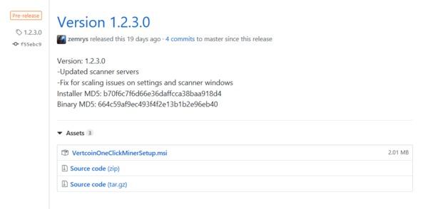 Vertcoin Version 1.2.3.0