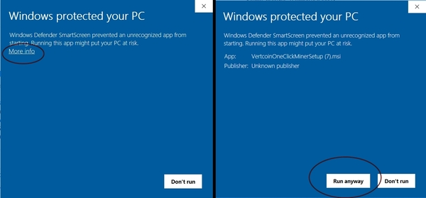 Windows protected your PC screen shot.