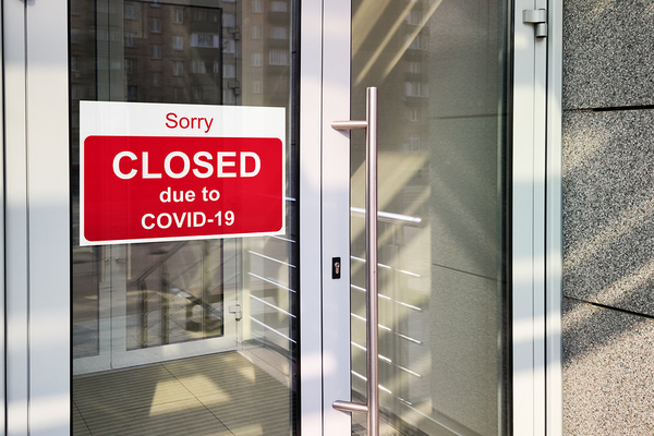 Sorry closed due to COVID-19 sign.