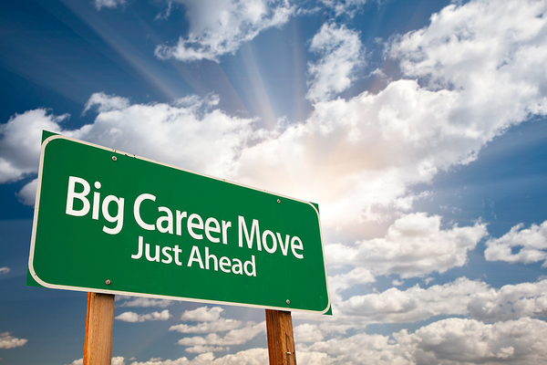 Big career move just ahead street sign.