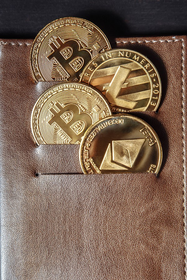 Leather wallet with gold bitcoins.